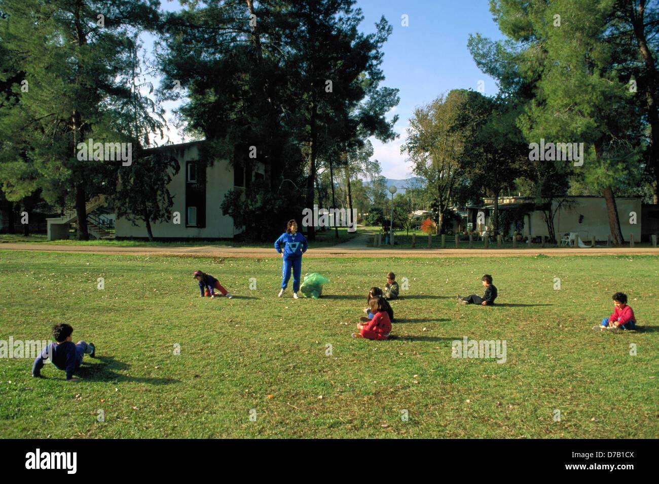 Sports class in kibbutz Dan - Stock Image