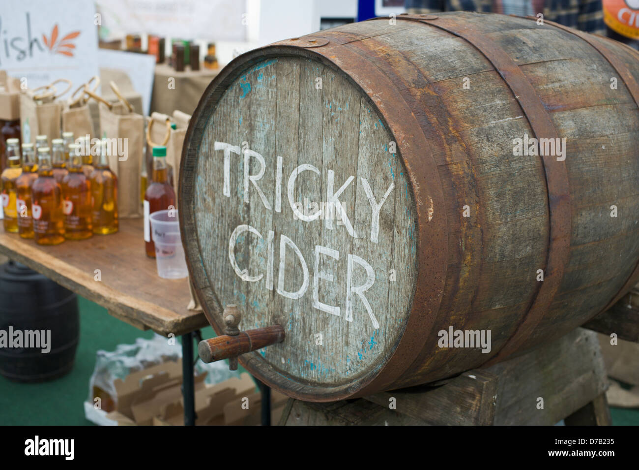 Tricky Cider on sale at Exeter Festival of South West Food & Drink - Stock Image