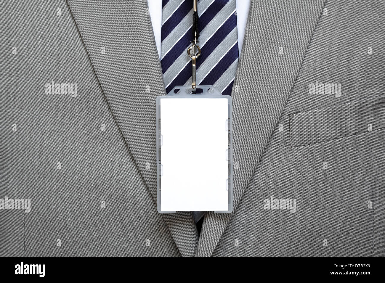 Blank name tag on suit - Stock Image