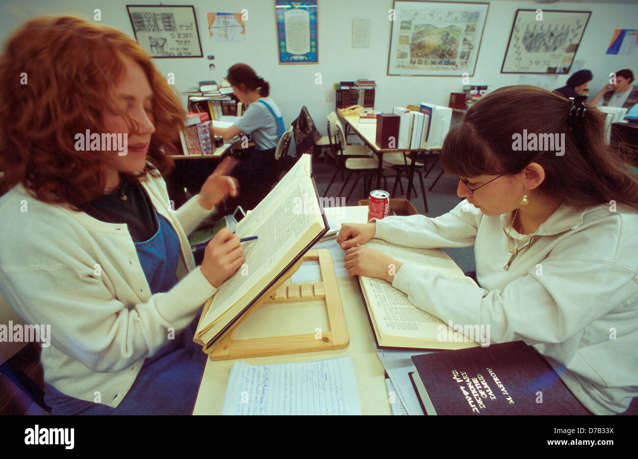 Girls During Talmud Lesson - Stock Image