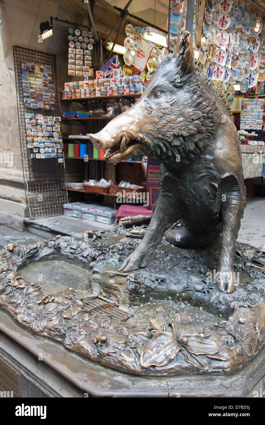 Porcelino Fountain in the Mercato Nuovo - New Market; Florence; Italy - Stock Image