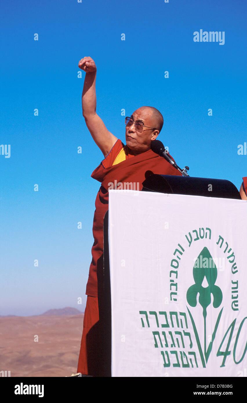 the dalai lama delivering a speech in the arava - Stock Image