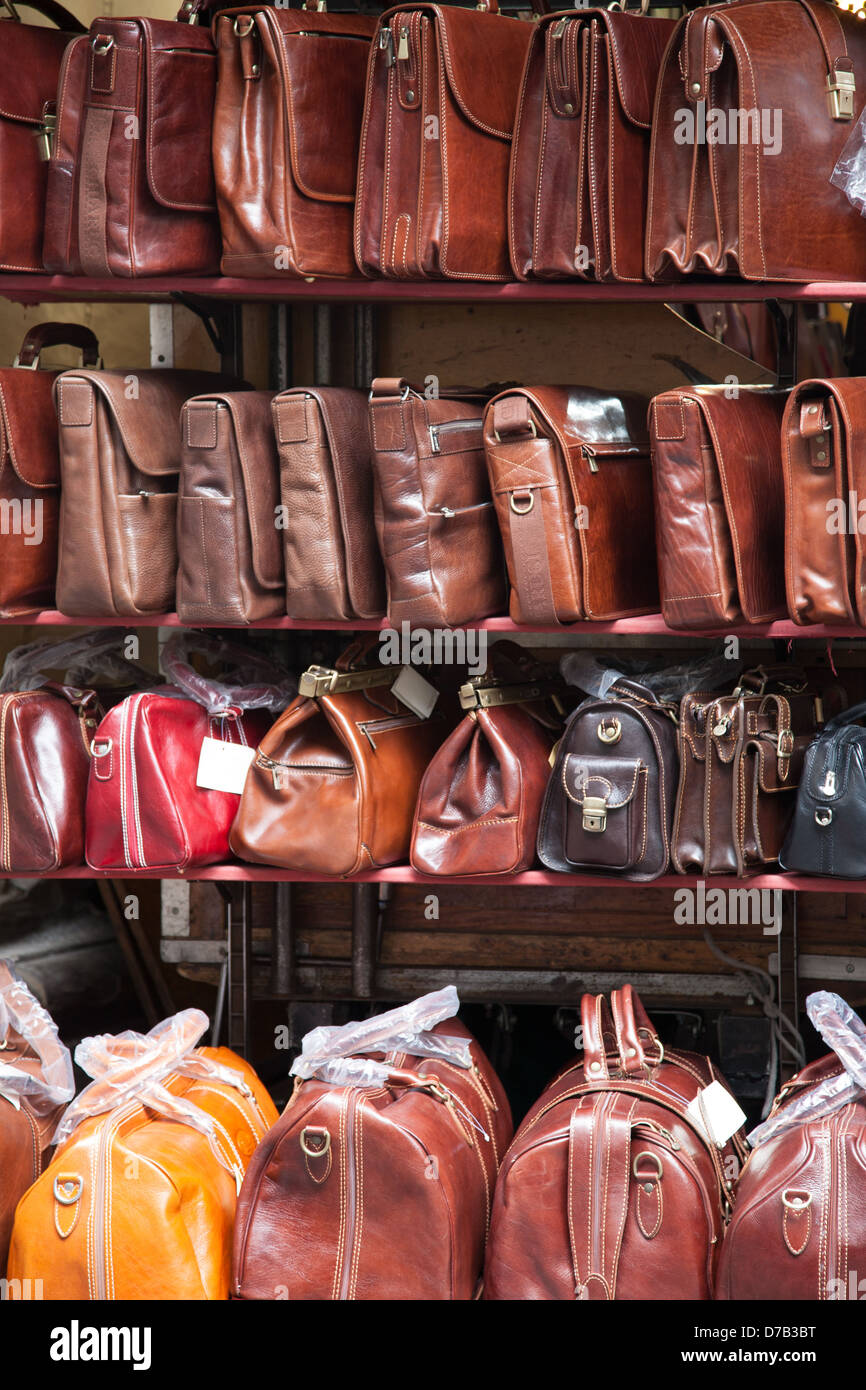 Leather Bags in Mercato Nuovo - New Market; Florence; Italy - Stock Image
