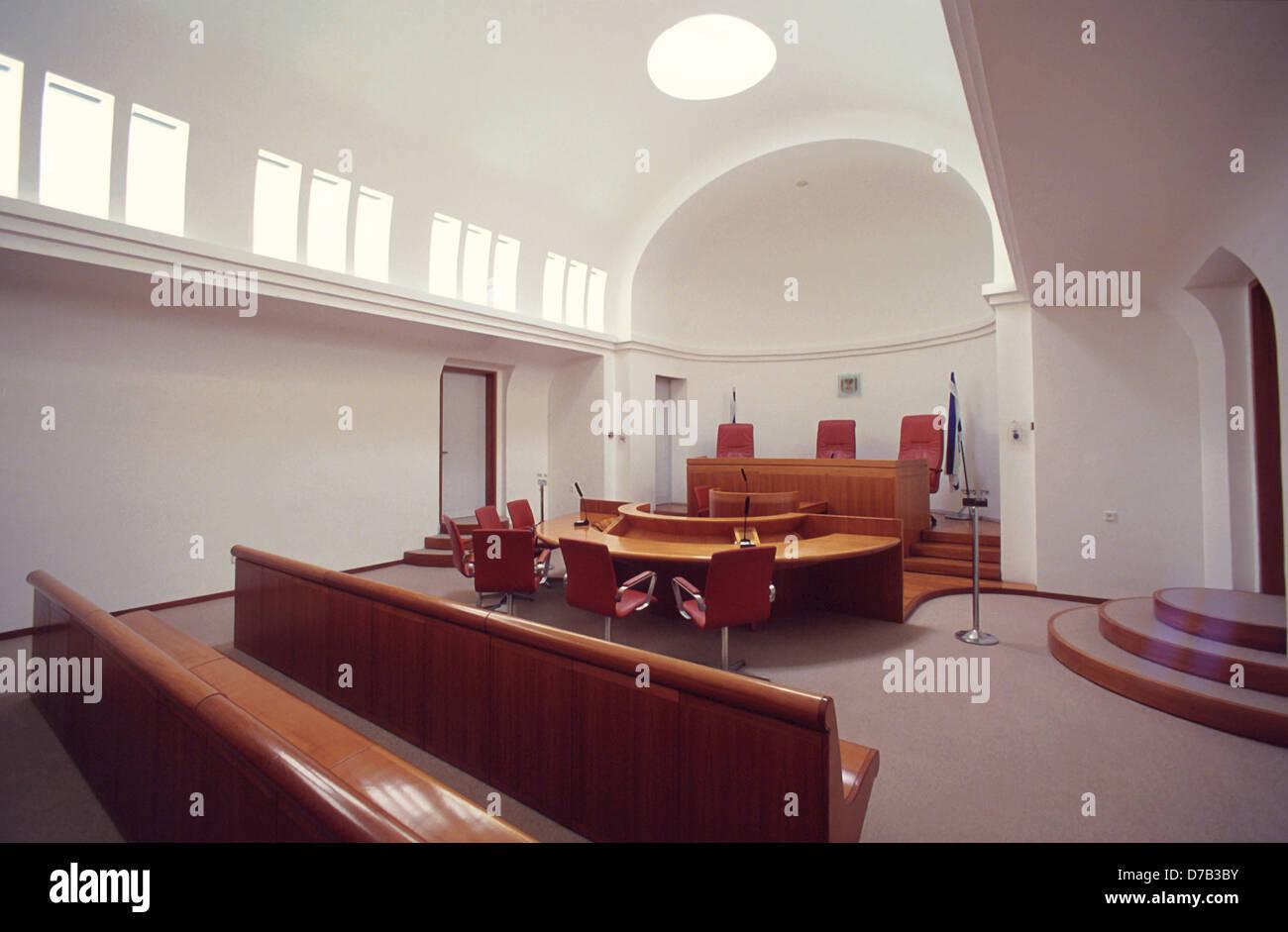 courtroom at the supreme court in jerusalem - Stock Image