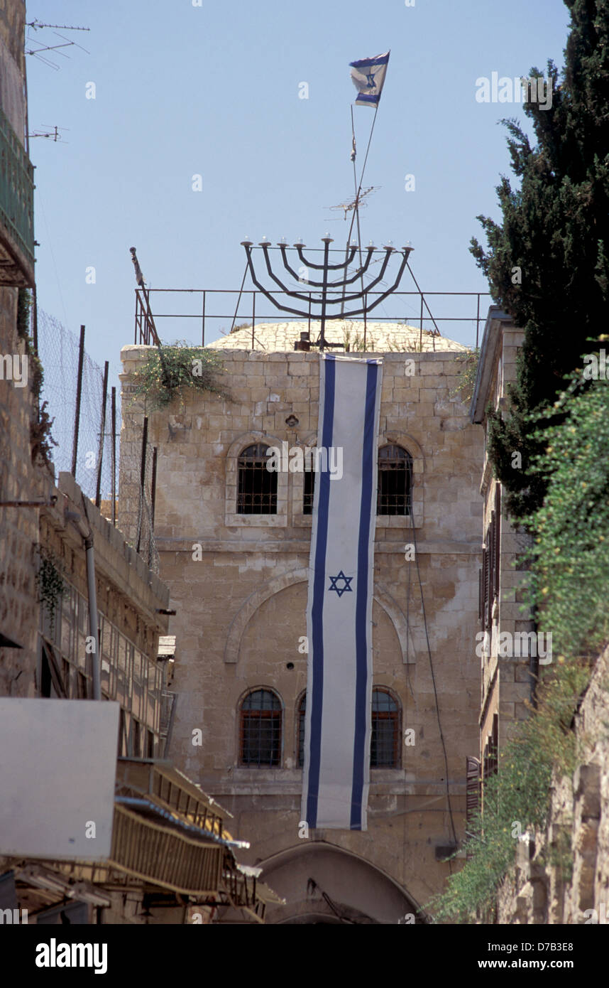 building owned by jews at the moslem quarter in the old city of jerusalem - Stock Image