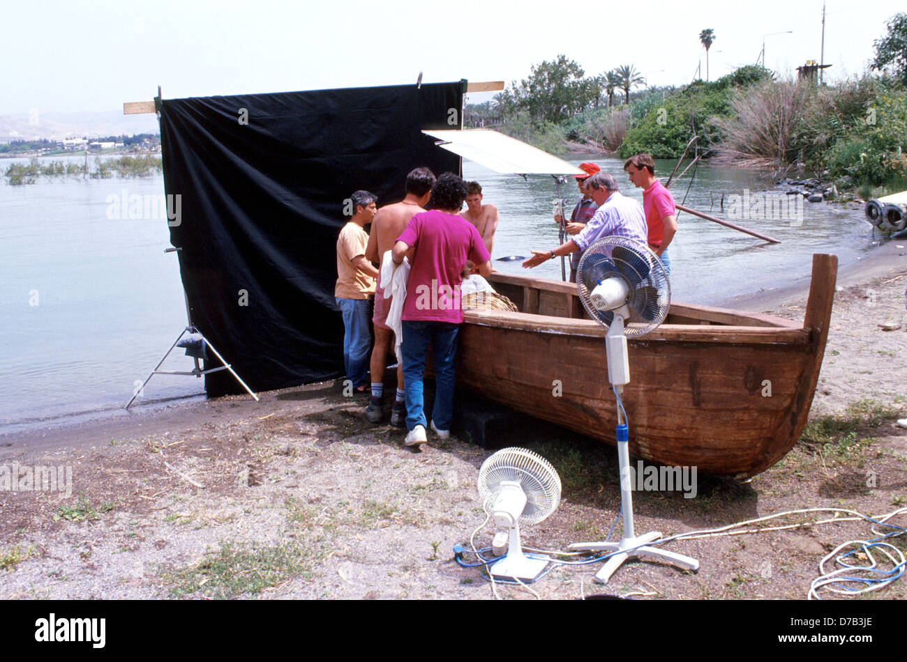 production of a movie at the banks of sea of galilee - Stock Image