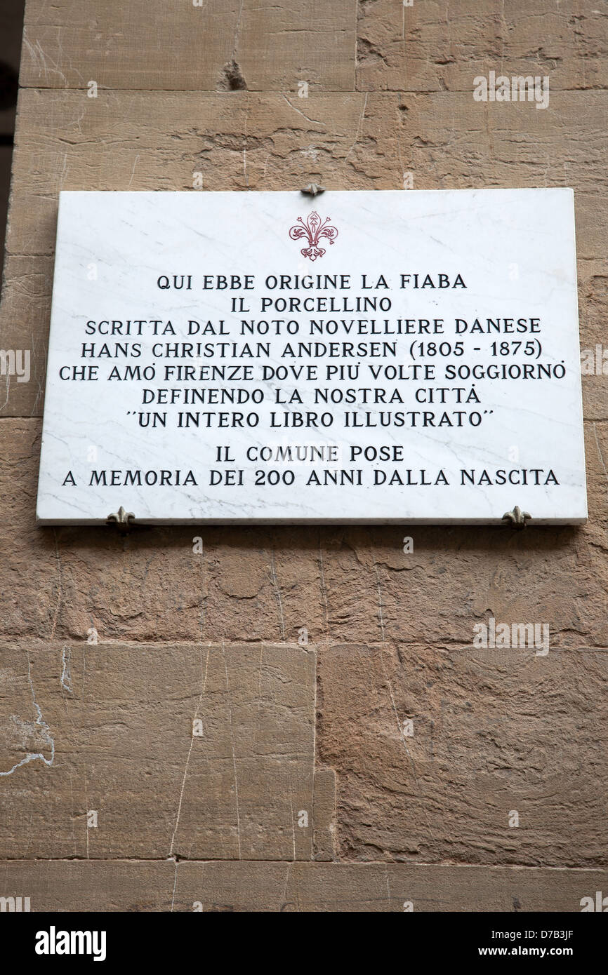 Plaque of Porcelino Fountain in Hans Cristian Andersen Novel in the Mercato Nuovo - New Market; Florence; Italy - Stock Image