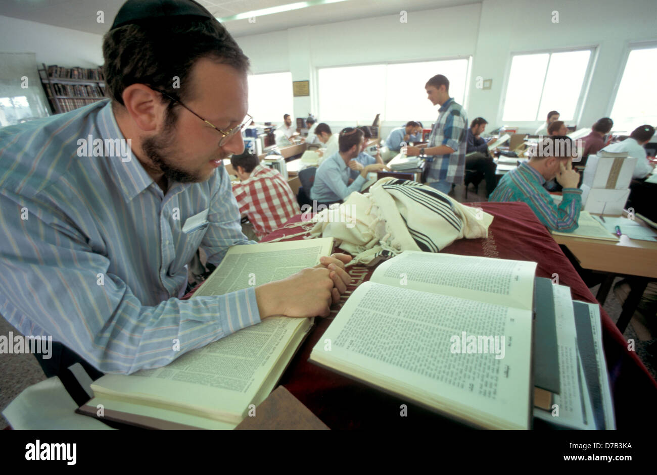 young man studies talmud at a yeshivah in efrat, gush etzion - Stock Image