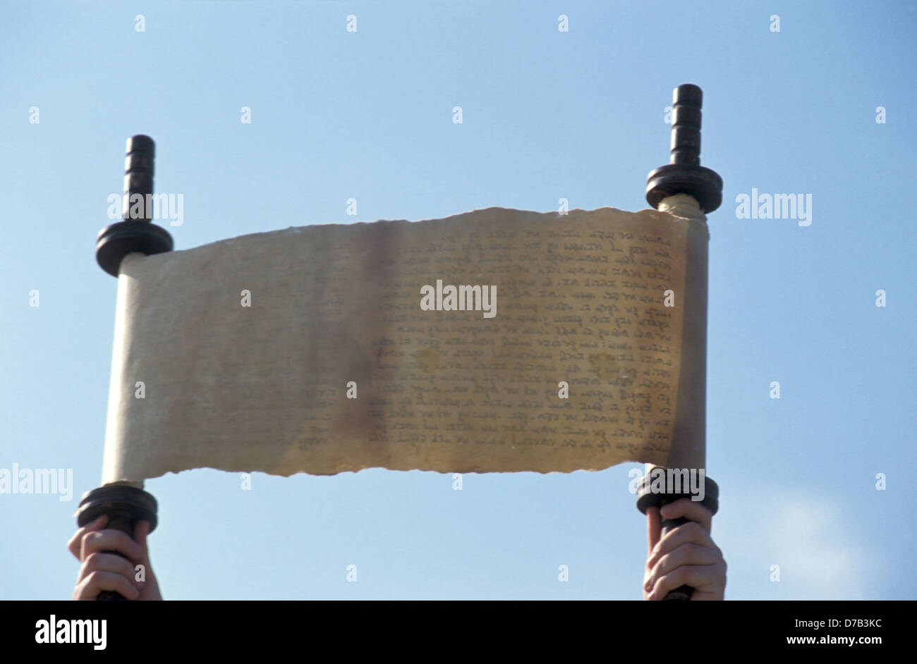 ancient torah jewish scroll - Stock Image