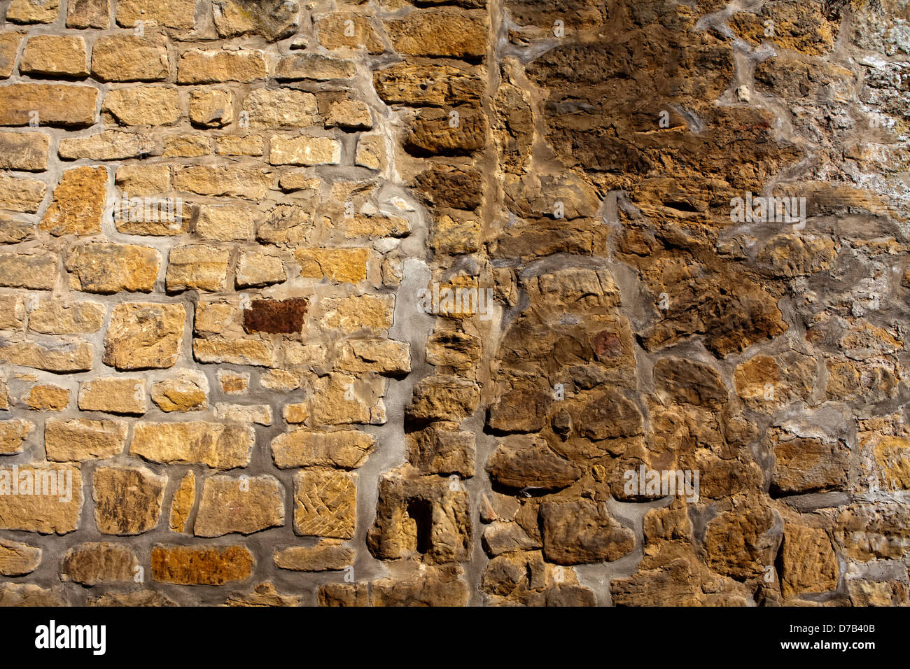 Stone wall,, Castle ruins of Beaufort or Belfort, Luxembourg, Europe, Die Burgruine Beaufort oder Belfort, Luxemburg, - Stock Image