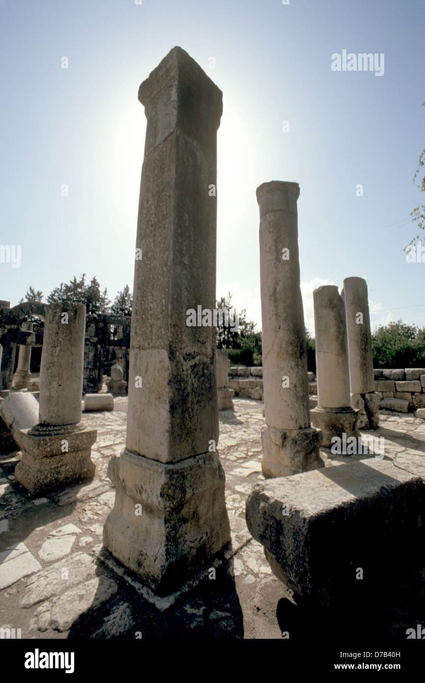 Ruins Of The Ancient Synagogue Of Baram - Stock Image