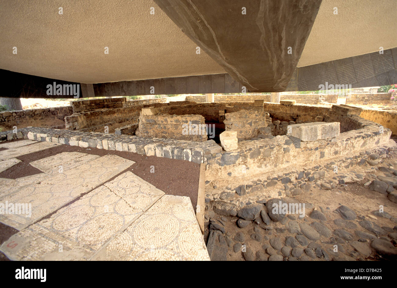 ruins under church of st peter at capernaum - Stock Image