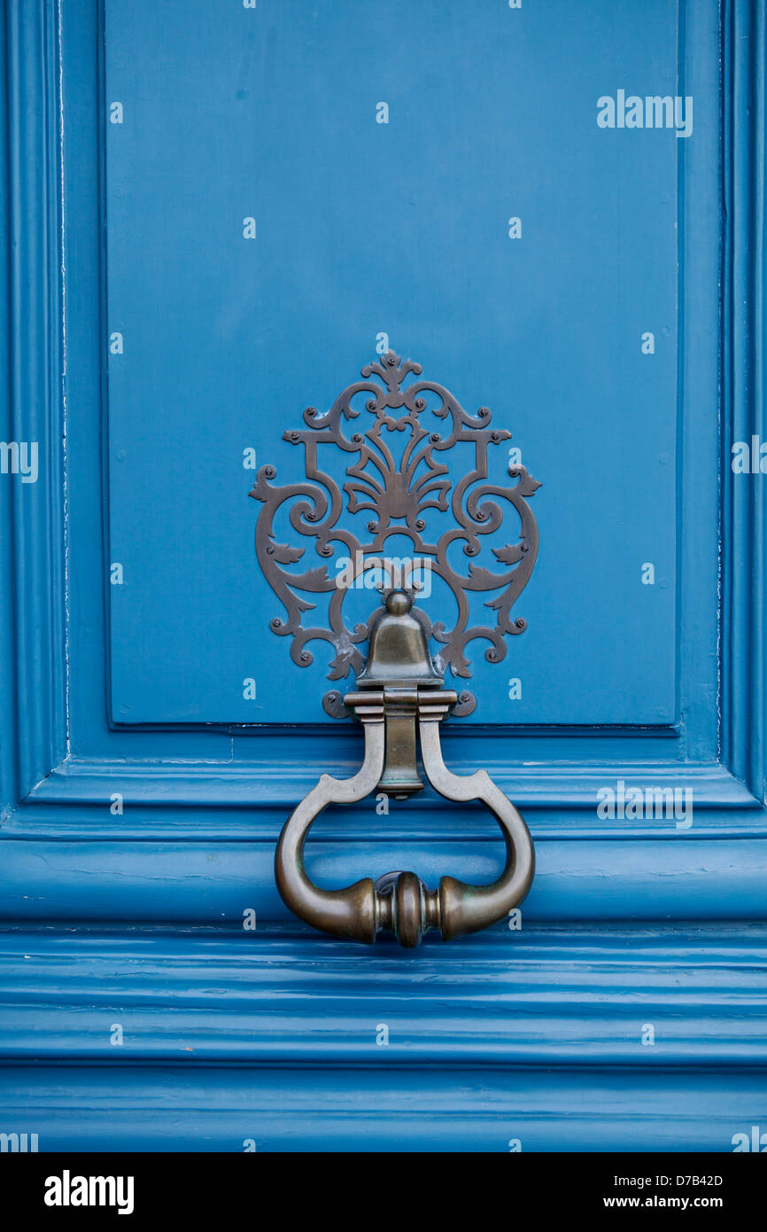 Door handle on elegant blue door in Place Vendome Paris, France ...