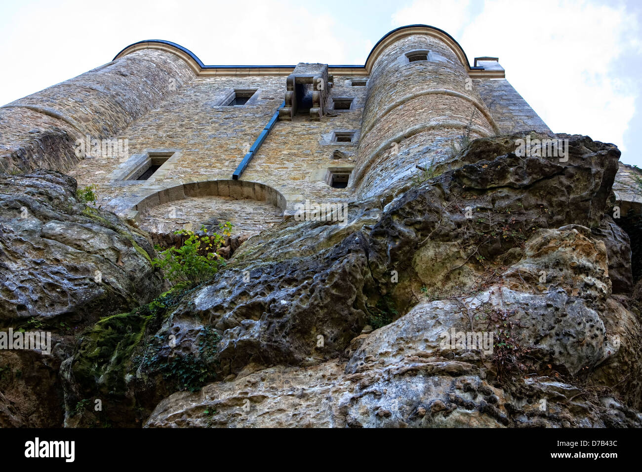 Burg Fels or Fiels Castle, Larochette, 11th century, Grand Duchy of Luxembourg, Europe Stock Photo