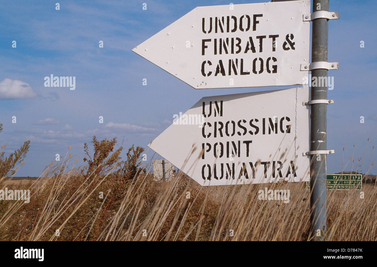 UN road sign at the golan heights - Stock Image