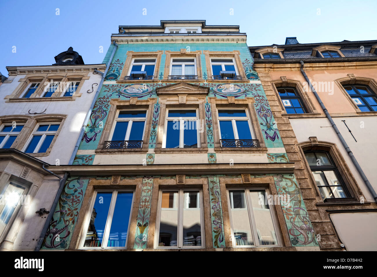 Restored art nouveau facade, Luxembourg City, Europe - Stock Image