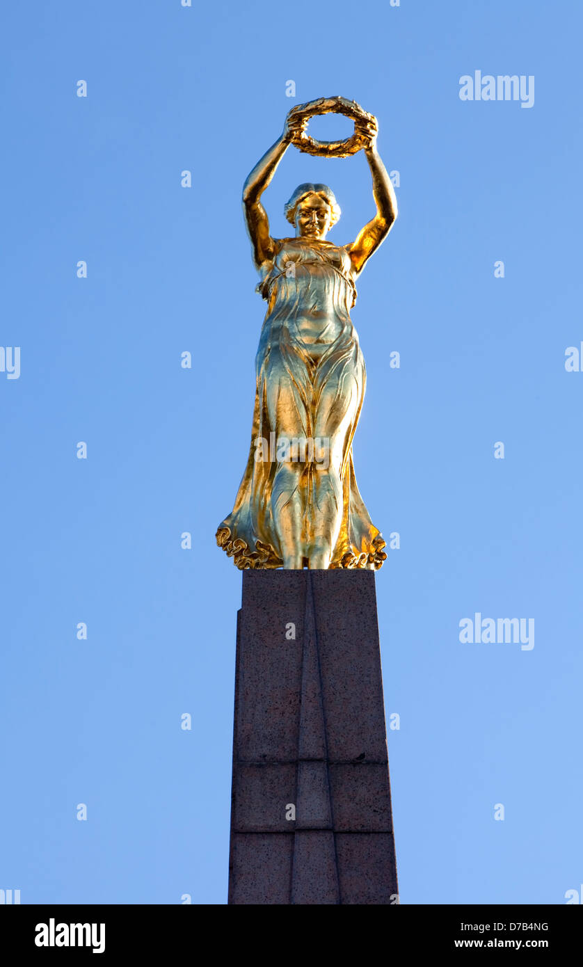 Monument of Remembrance, Gëlle Fra memorial, Place de la Constitution square, by Claus Cito, Luxembourg city, - Stock Image