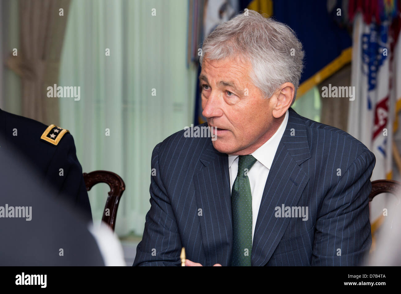 US Secretary of Defense Chuck Hagel meets with British Defence Secretary Phillip Hammond in the Pentagon May 2, - Stock Image