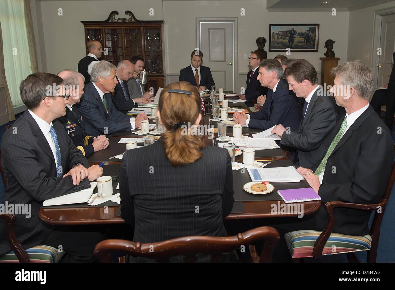 US Secretary of Defense Chuck Hagel meets with British Defence Secretary Phillip Hammond to the Pentagon May 2, - Stock Image