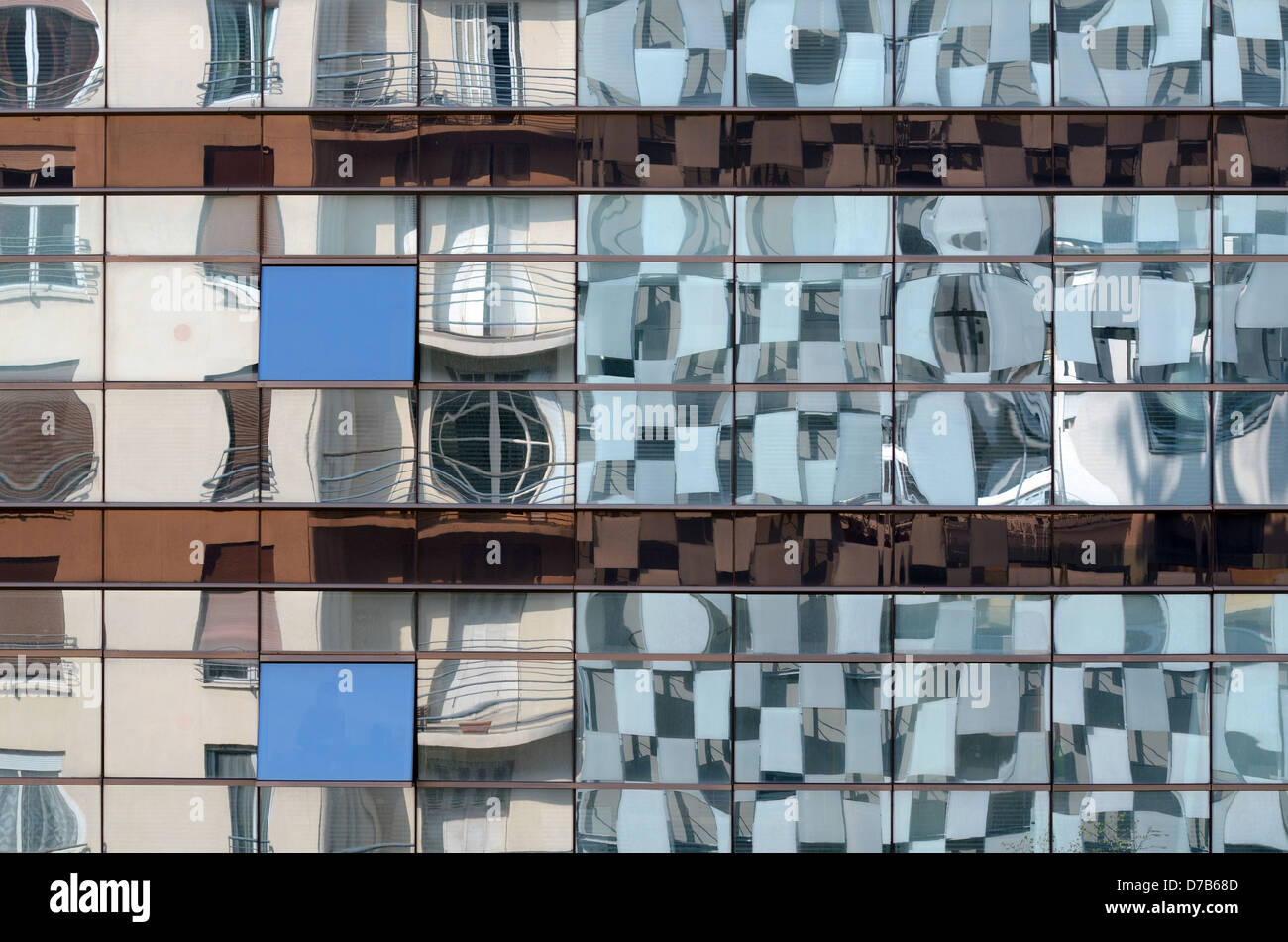 Reflections of FRAC Art Museum in Adjacent Office Building Marseille France - Stock Image