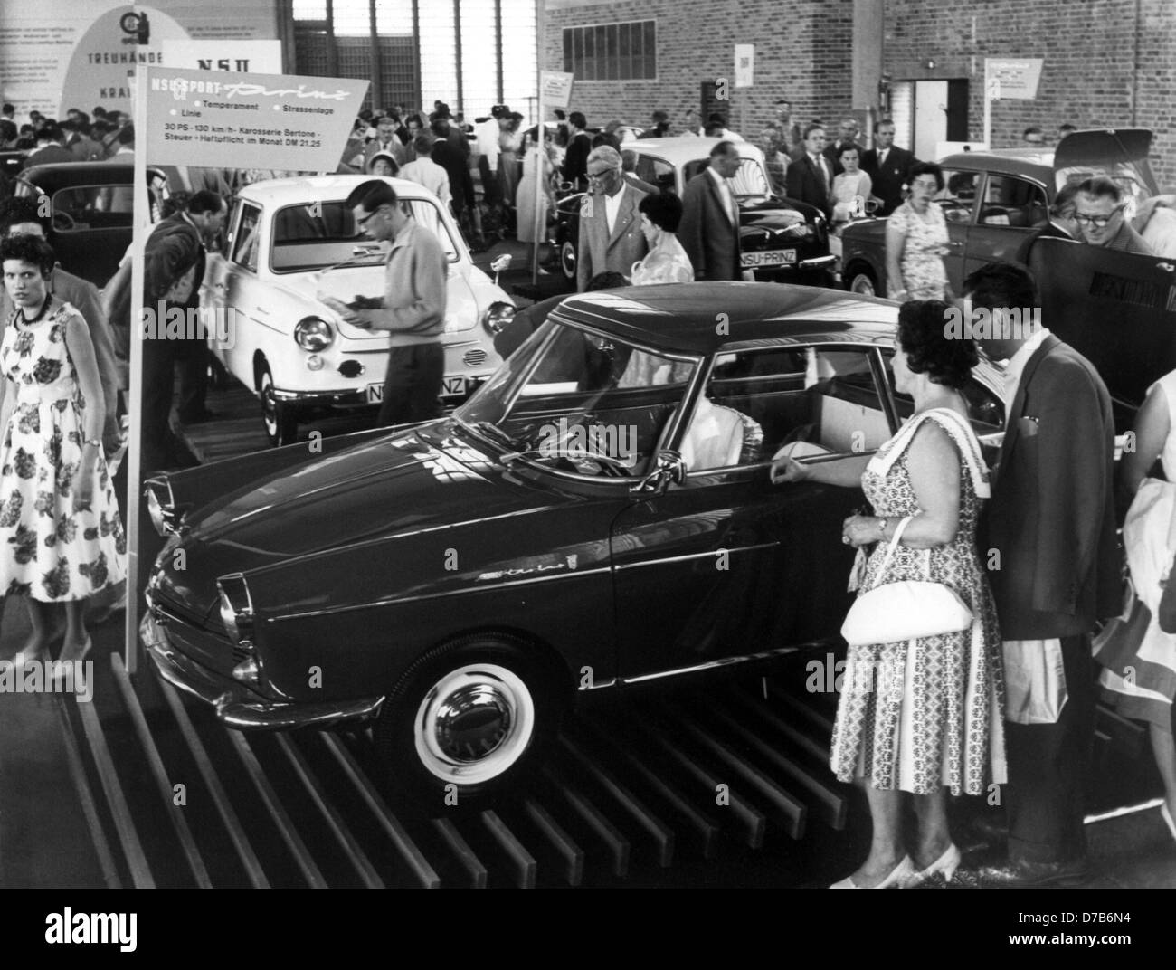 Visitors of the German Industrial Exhibition in September 1959 in Berlin. Stock Photo