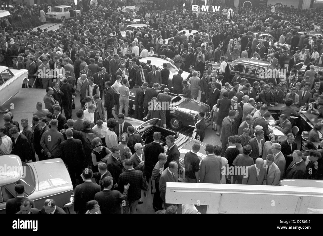Visitors at the International Automobile Show (IAA) in Frankfurt on the Main on 12 September 1963). Stock Photo