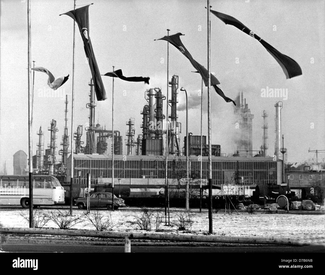View of a part of the Farbwerke Hoechst on the 10th of January in 1963 on the occasion of the 100th jubilee of the company. Stock Photo