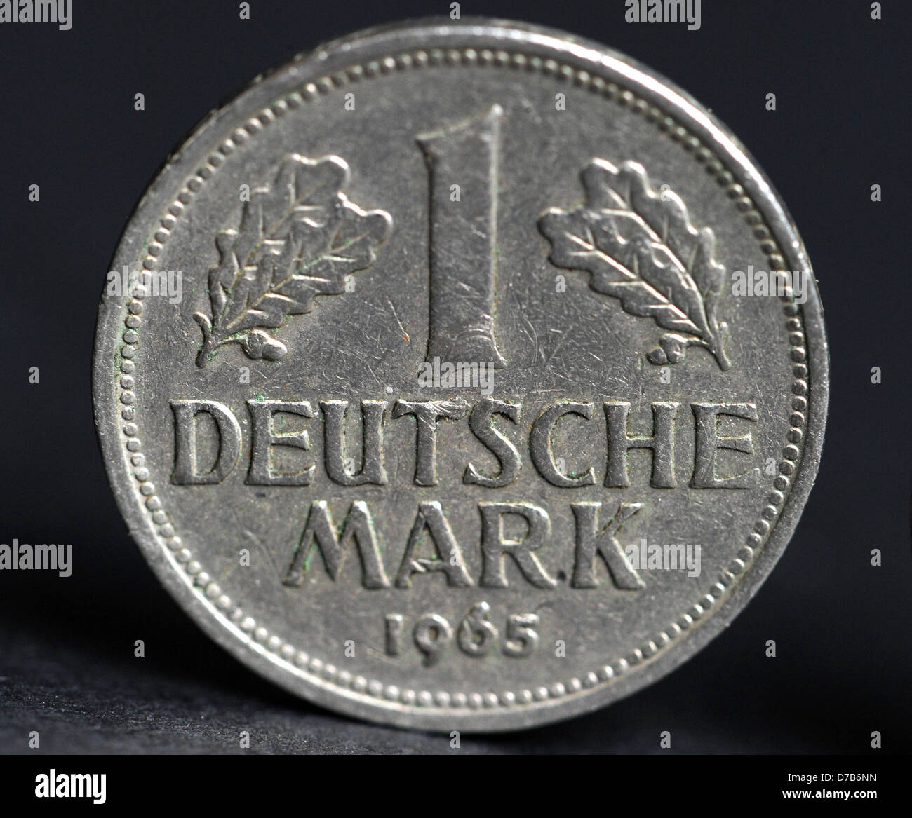 A one Mark coin from 1965, photographed on the 14th of June in 2010 in Berlin. Stock Photo