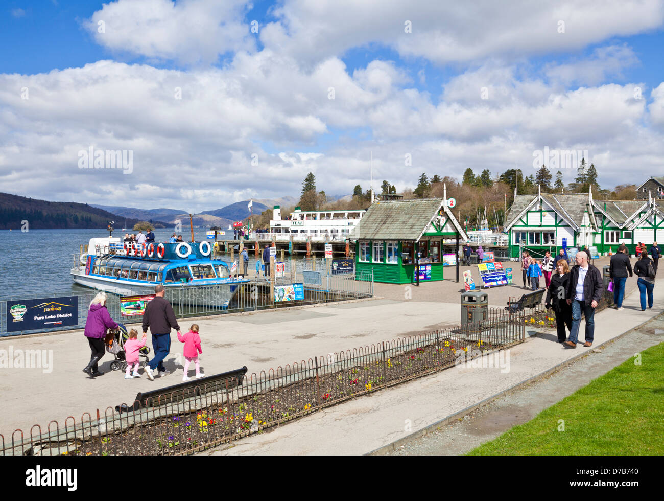 Steamer and lake cruises booking office Lake windermere at Bowness on windermere Cumbria Lake district England UK - Stock Image