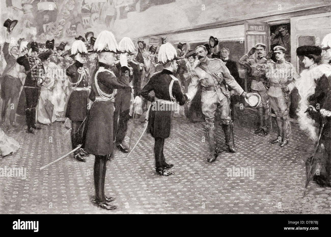 Lord Kitchener's homecoming in 1902 from South Africa. After a drawing by W. Hatherell. - Stock Image