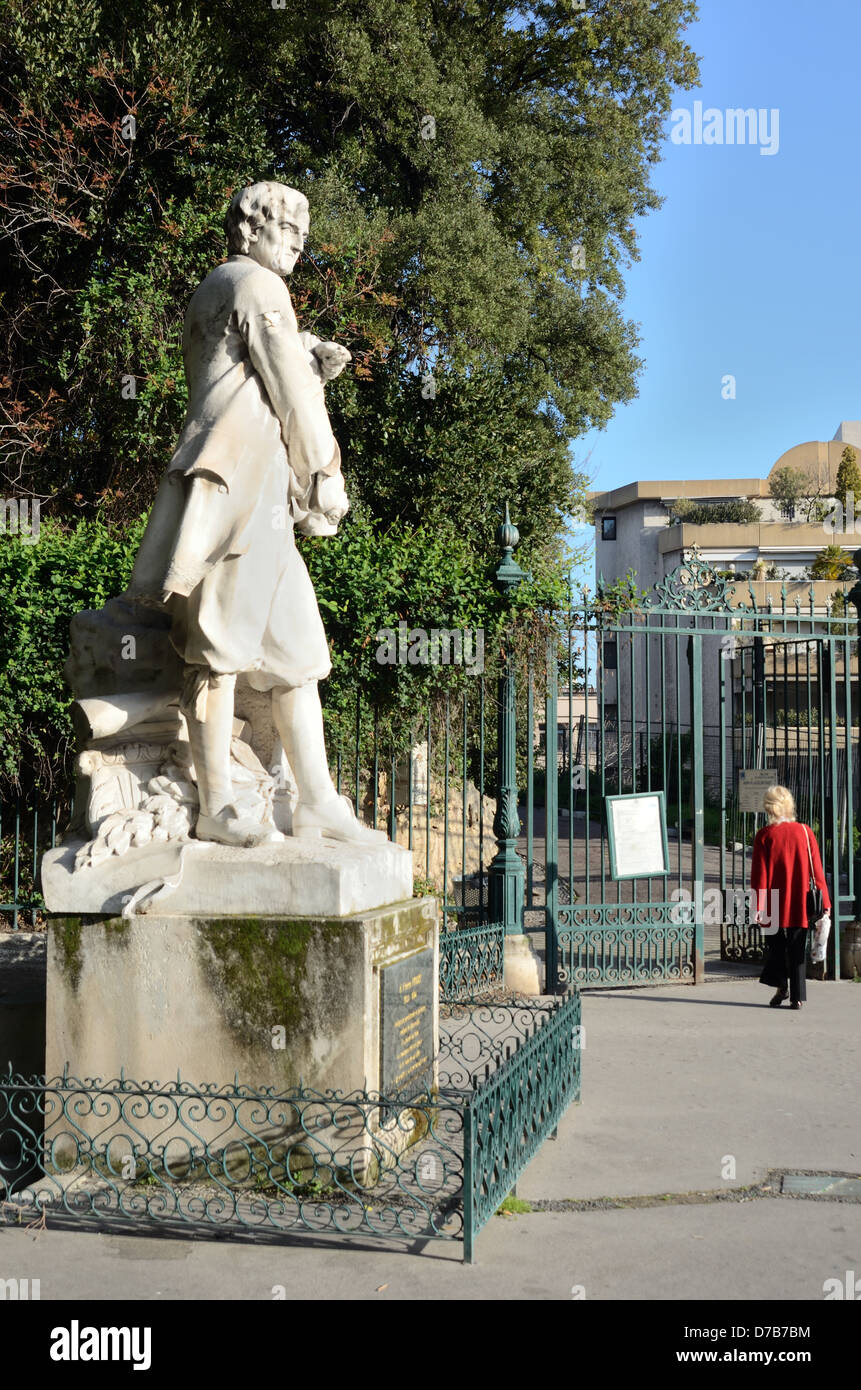 Pierre Puget Statue & Entrance to Public Park or Garden Marseille France - Stock Image