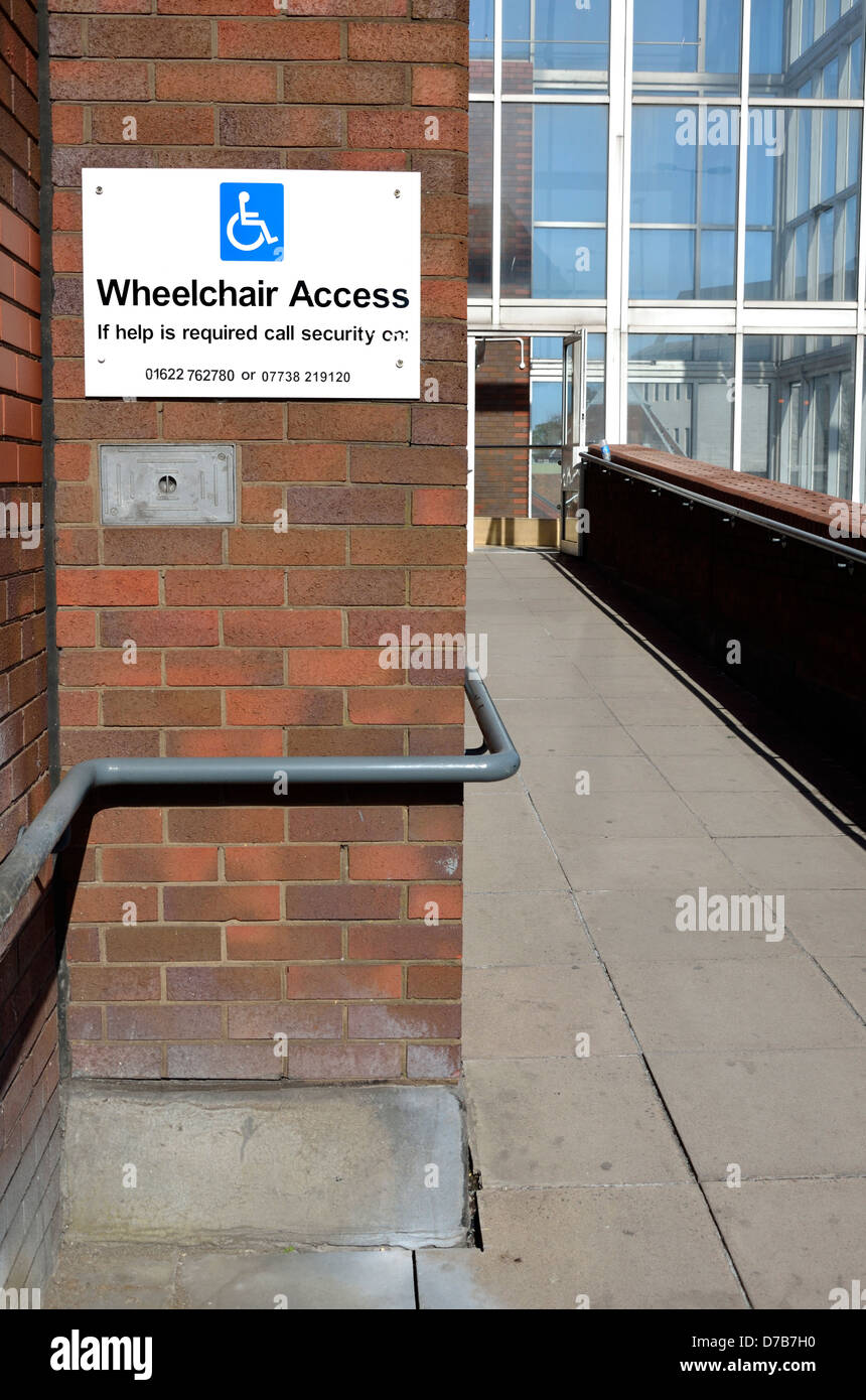 Maidstone, Kent, England, UK. Wheelchair access to shopping mall - Stock Image
