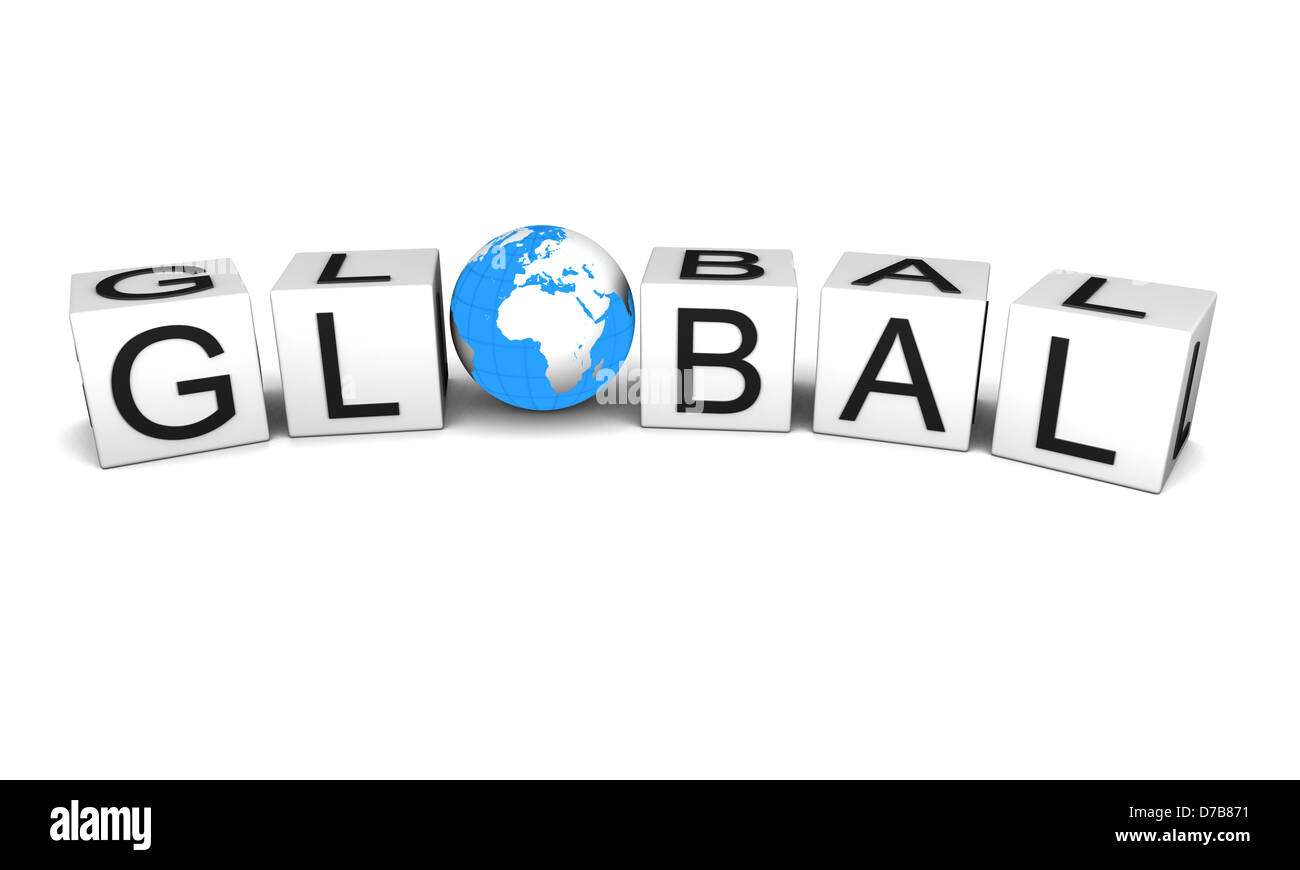 Concept of global with planet earth, isolated on white background. Elements of this image furnished by NASA. - Stock Image