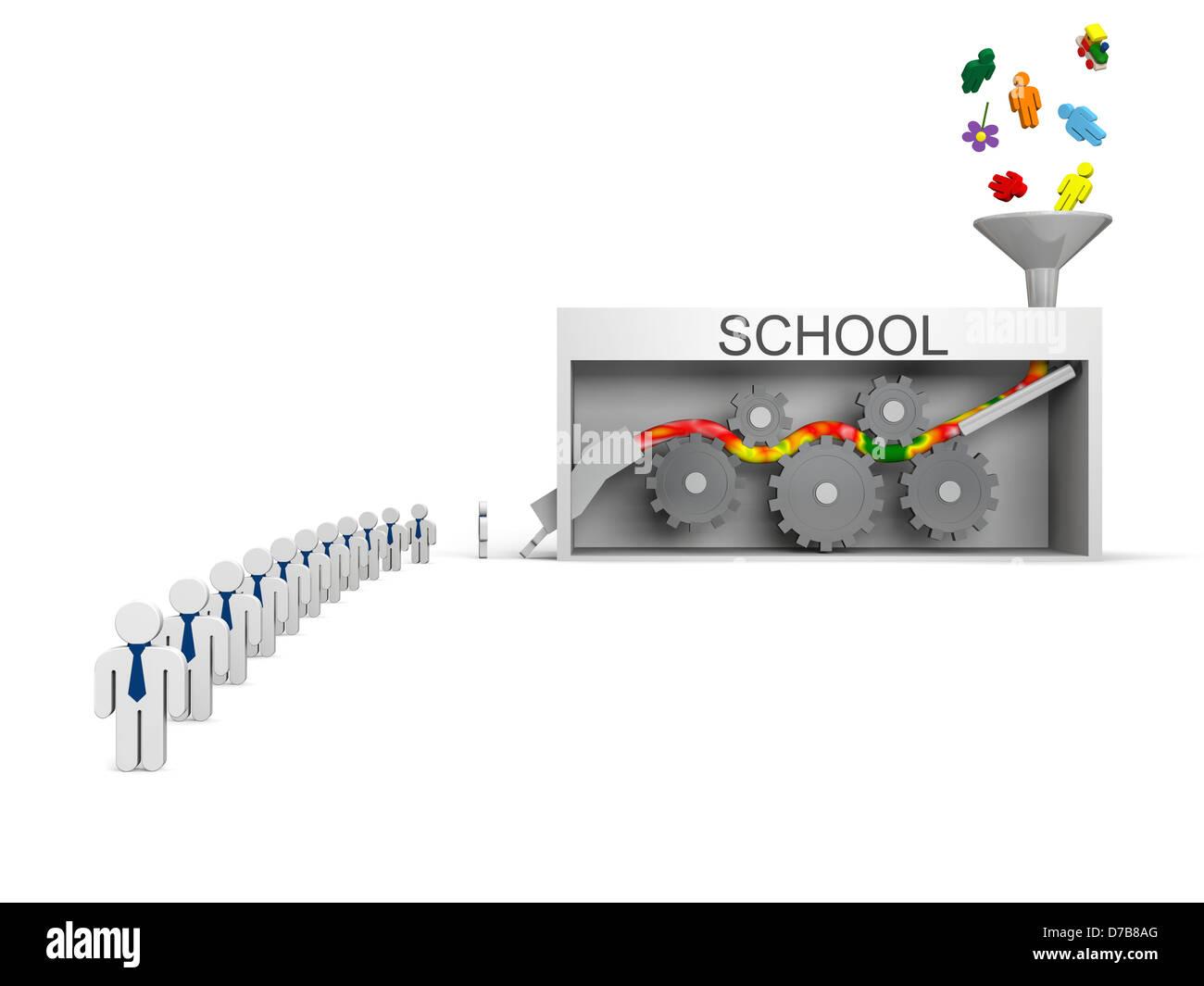 School machine, concept of schools killing creativity producing average worker - Stock Image
