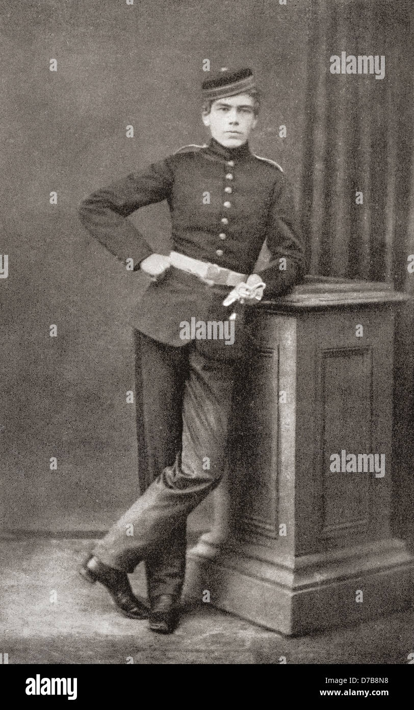 Lord Kitchener as a cadet at Woolwich Academy, aged 17. - Stock Image