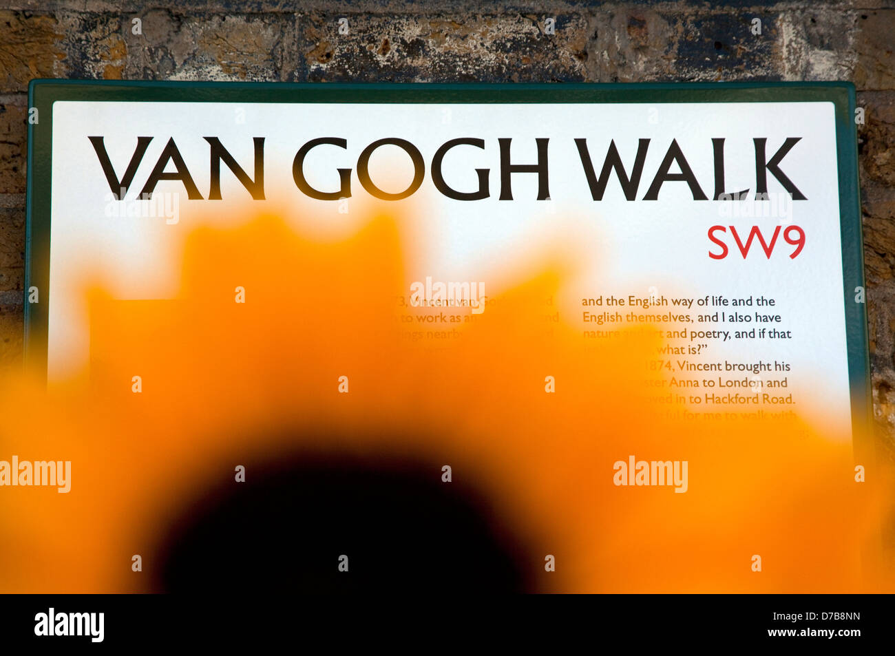 Newly renamed Van Gogh Walk in Stockwell, South London near where the artist lived for a time - Stock Image