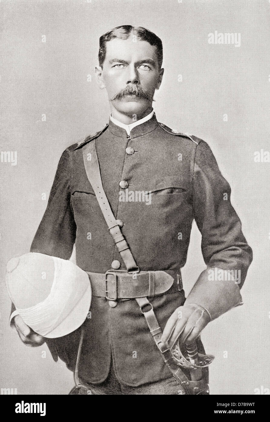 Lord Kitchener in 1882 as Major of the Egyptian Cavalry. . Field Marshal Horatio Herbert Kitchener, 1st Earl Kitchener, - Stock Image