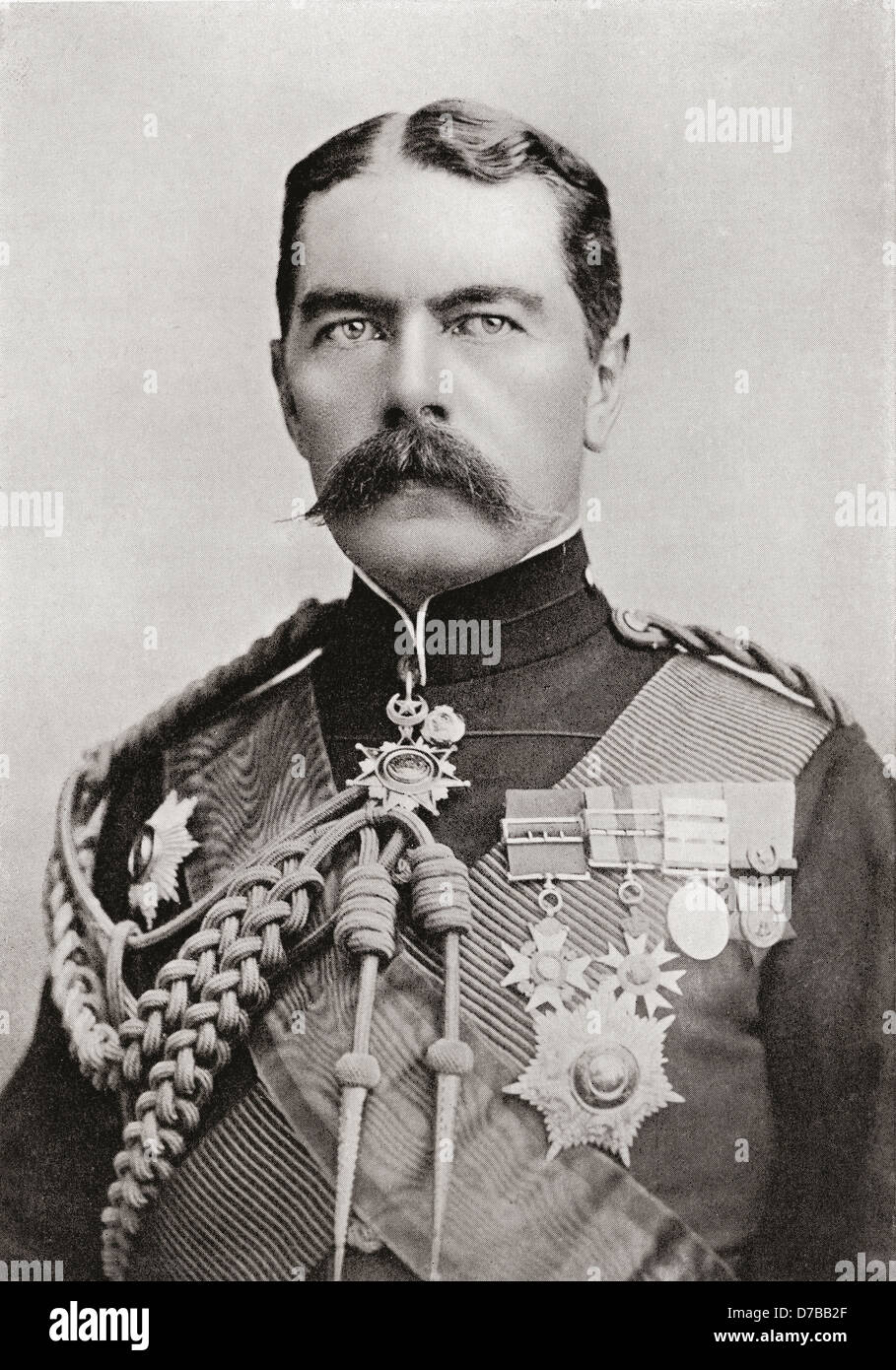 Lord Kitchener in 1896, when, as Brigadier-General Sir H.H. Kitchener, he held the position of Sirdar of the Egyptian - Stock Image