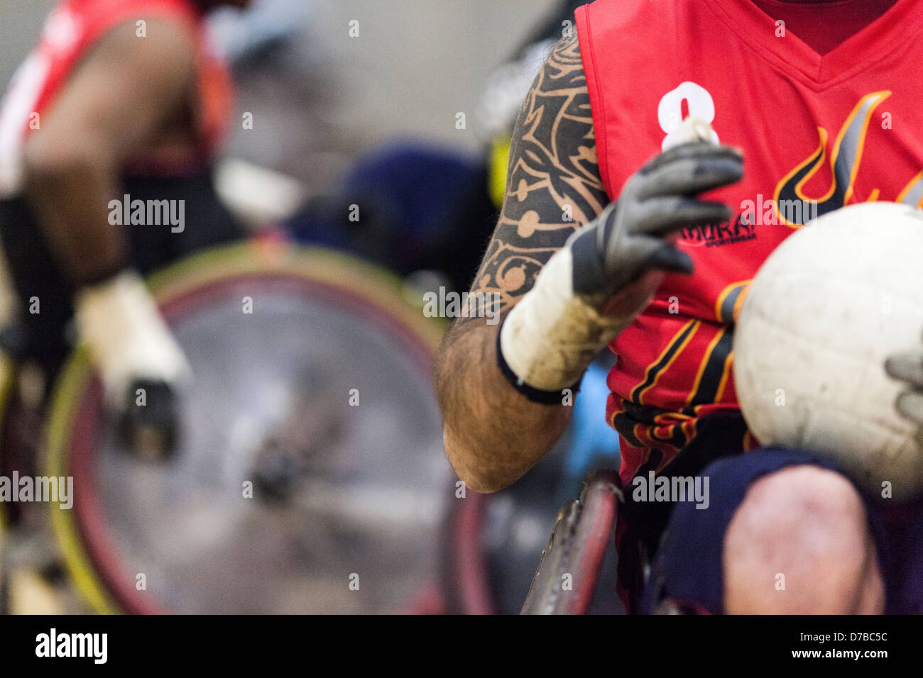 wheelchair rugby player holding the ball, gbwr, team gb, gbr, - Stock Image