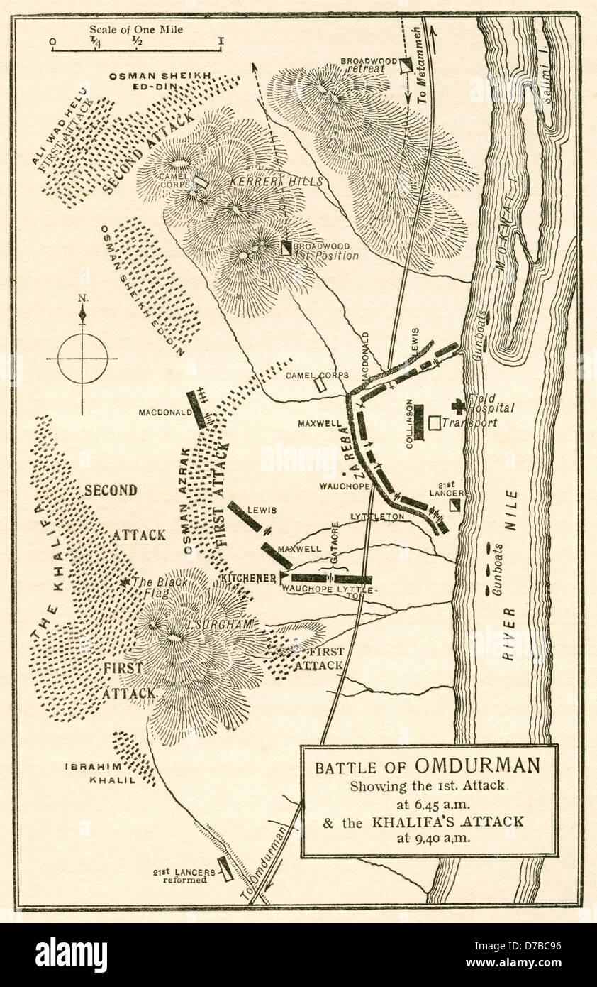 Map of the Battle of Omdurman Khartoum Sudan1898 showing the 1st