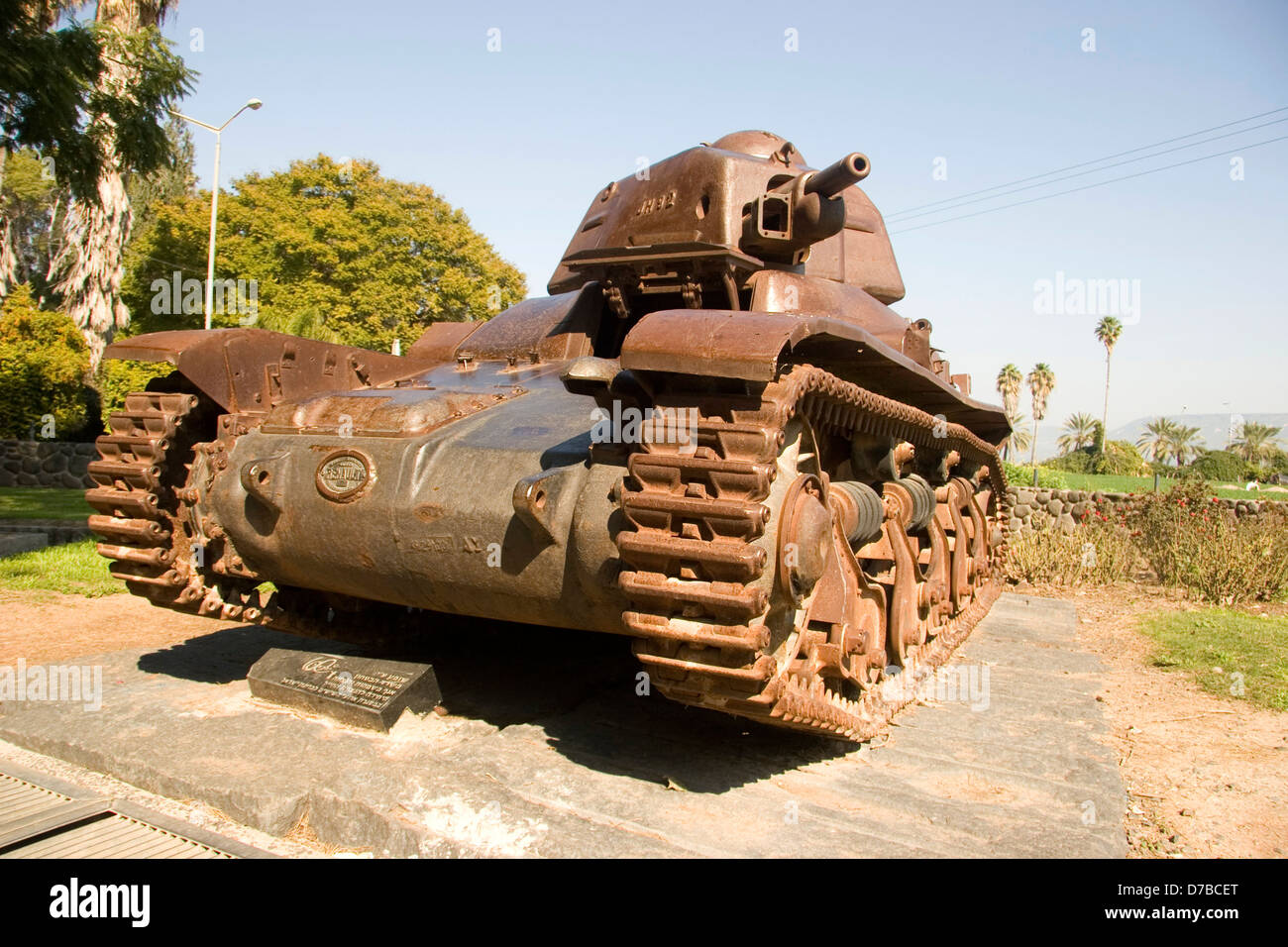 Renault 35 Syrian tank which attacked kibbutz Degania Alef during 1948 war - Stock Image