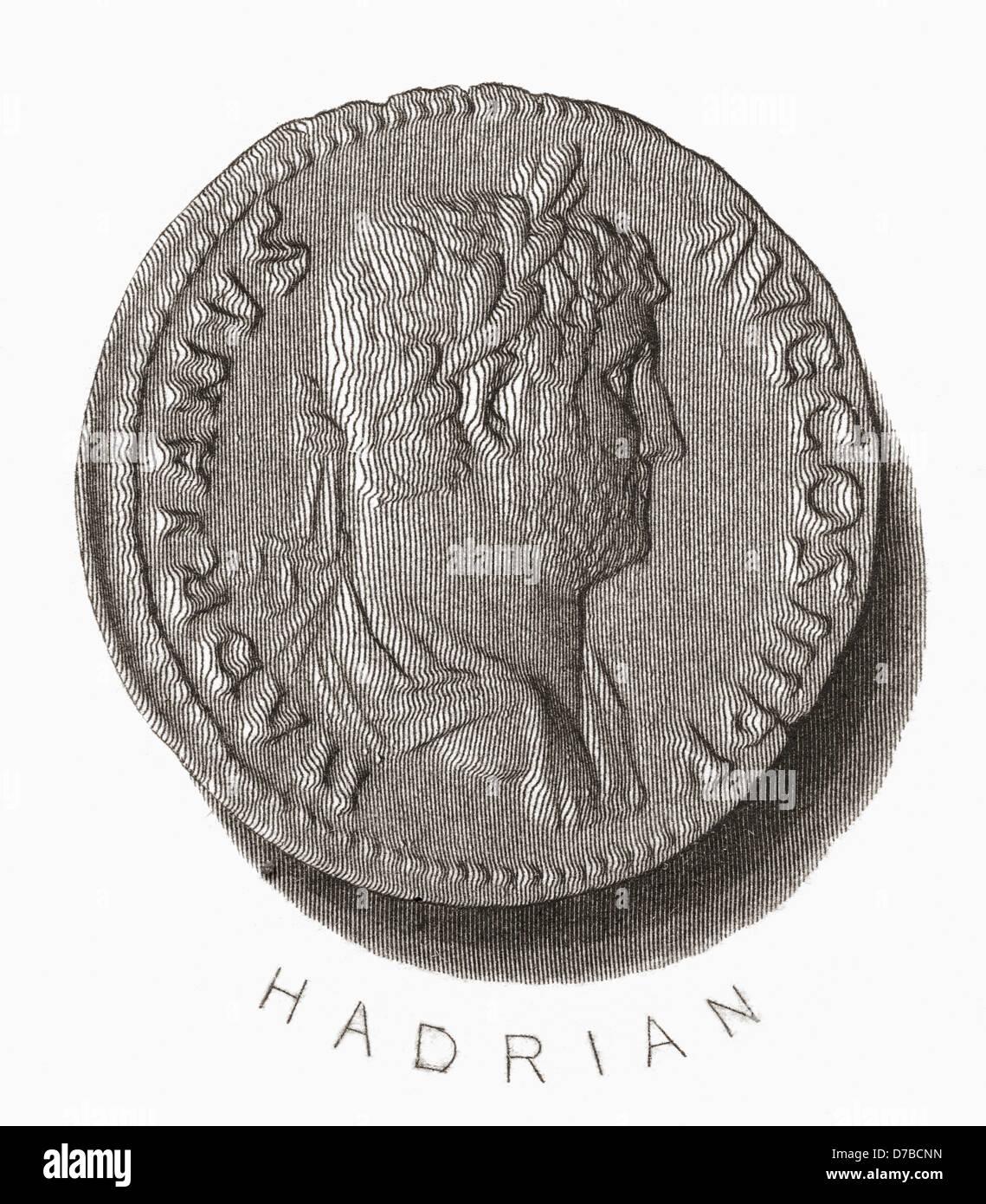 Hadrian , 76 AD –138 AD. Roman Emperor - Stock Image