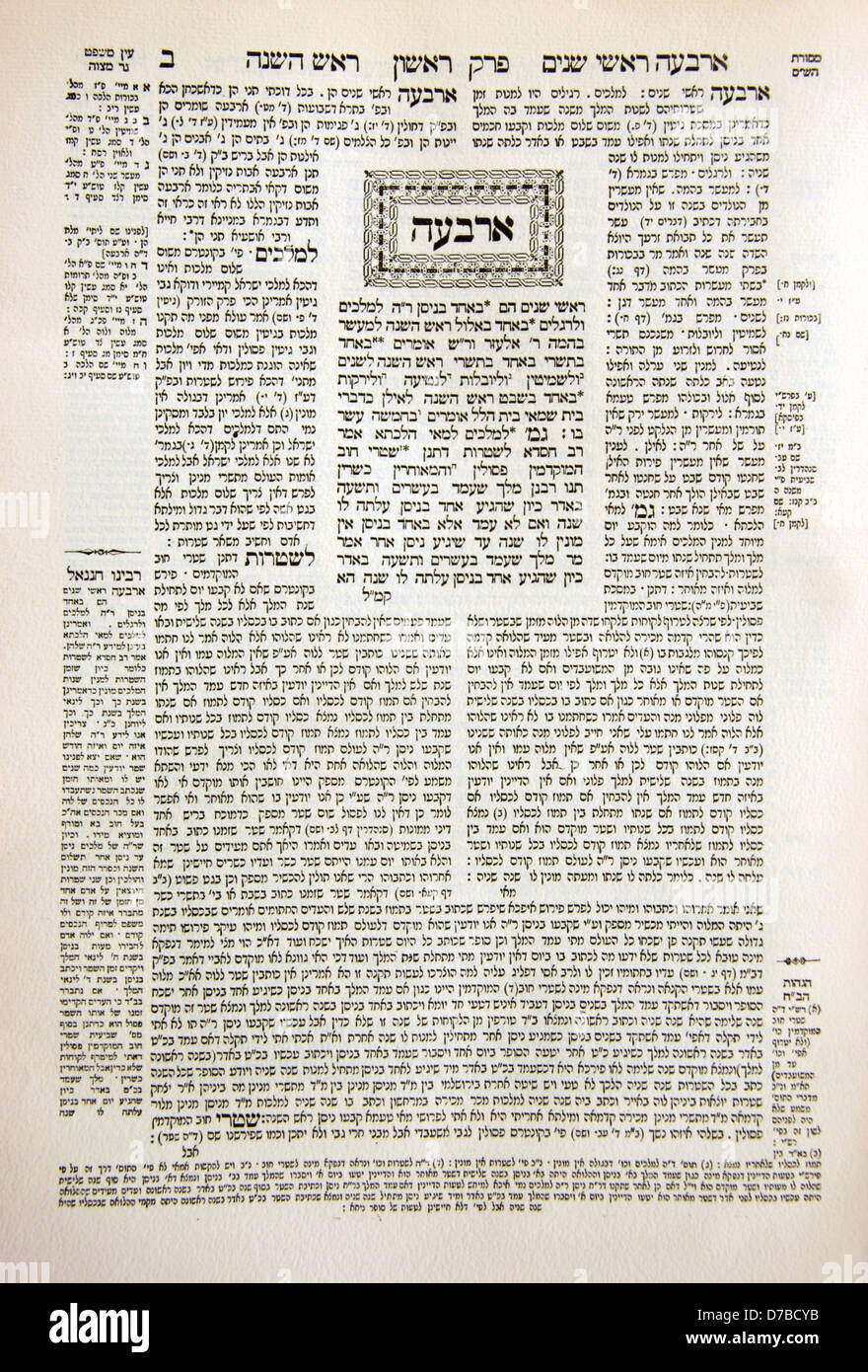 Page of the Talmud (Hebrew and Rashi writing) - Stock Image