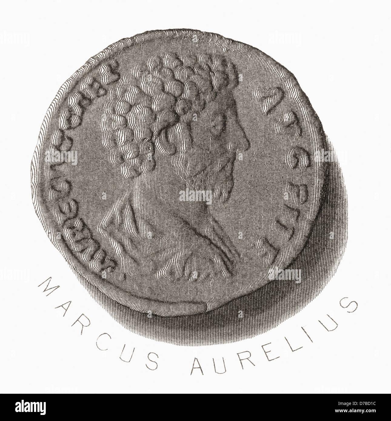 Marcus Aurelius, 121 AD – 180 AD. Roman Emperor - Stock Image
