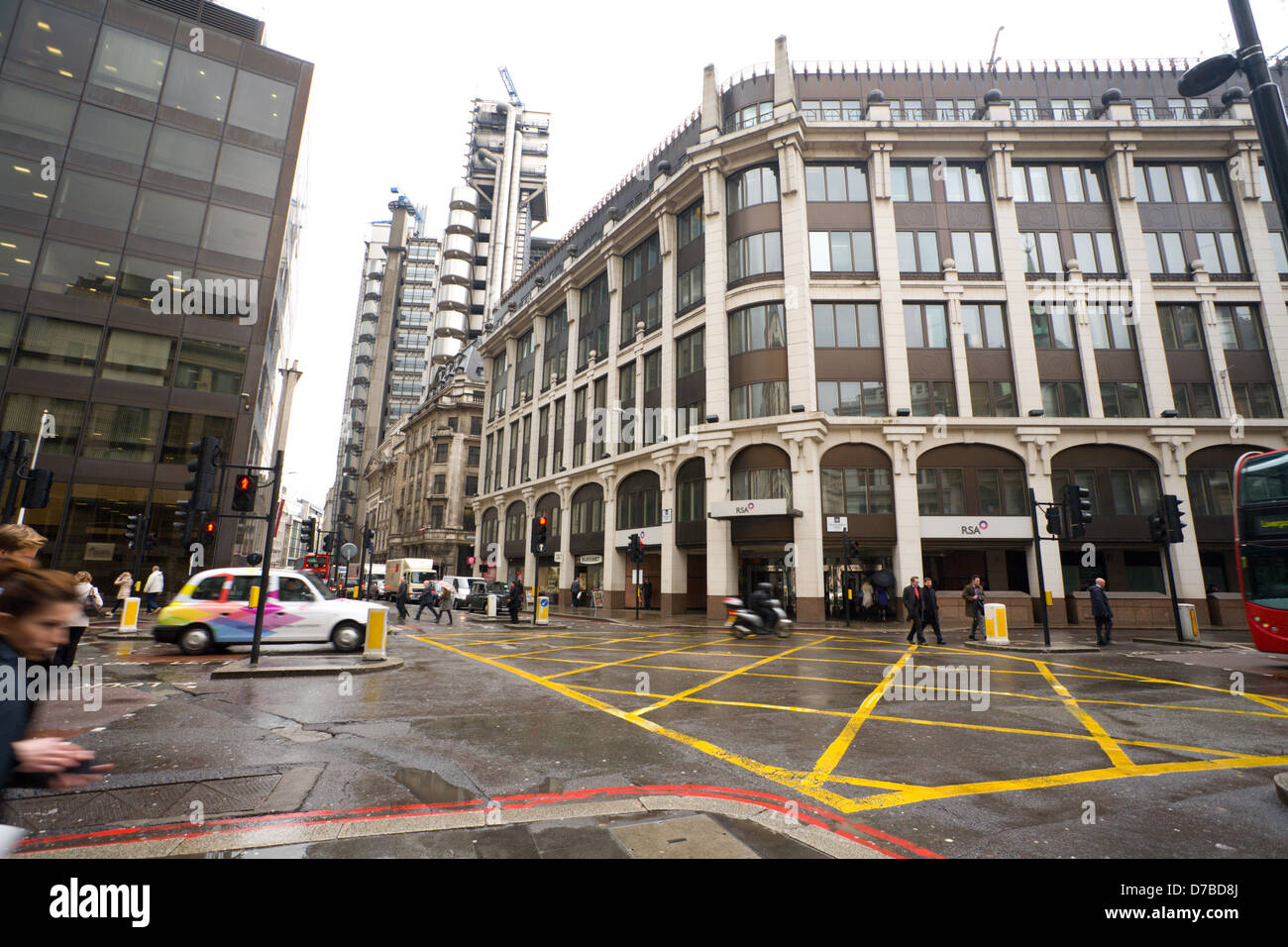 RSA building and junction of gracechurch street, cornhill and leadenhall street, London - Stock Image