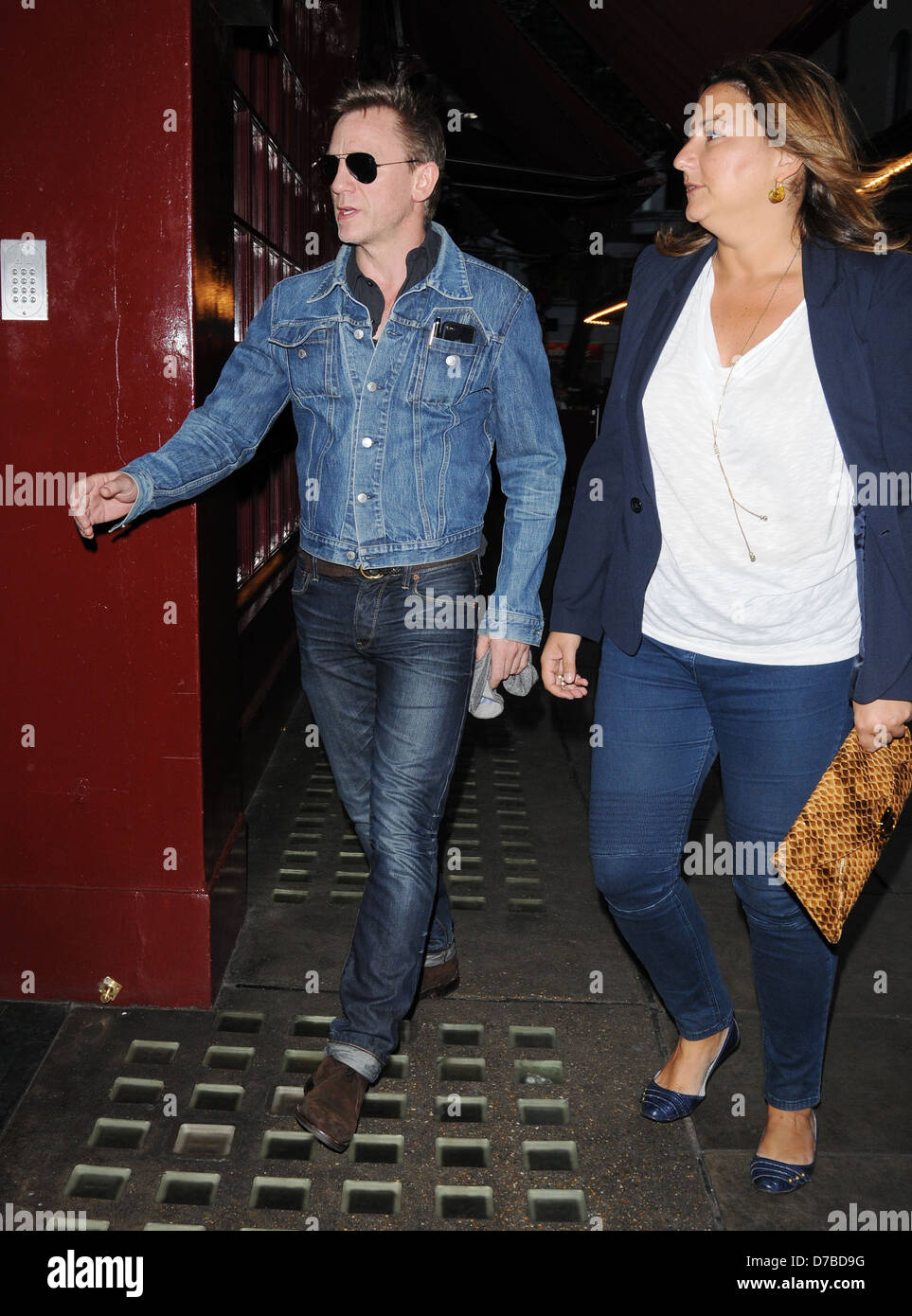 0ed90dd47 Daniel Craig wearing a denim jacket as he arrives at J Sheekey Stock ...