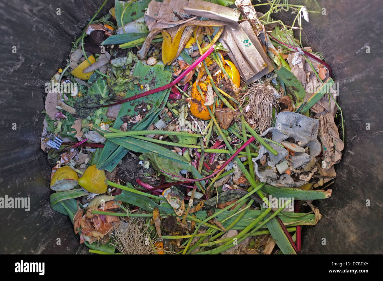 Overhead shot of a compost bin. - Stock Image