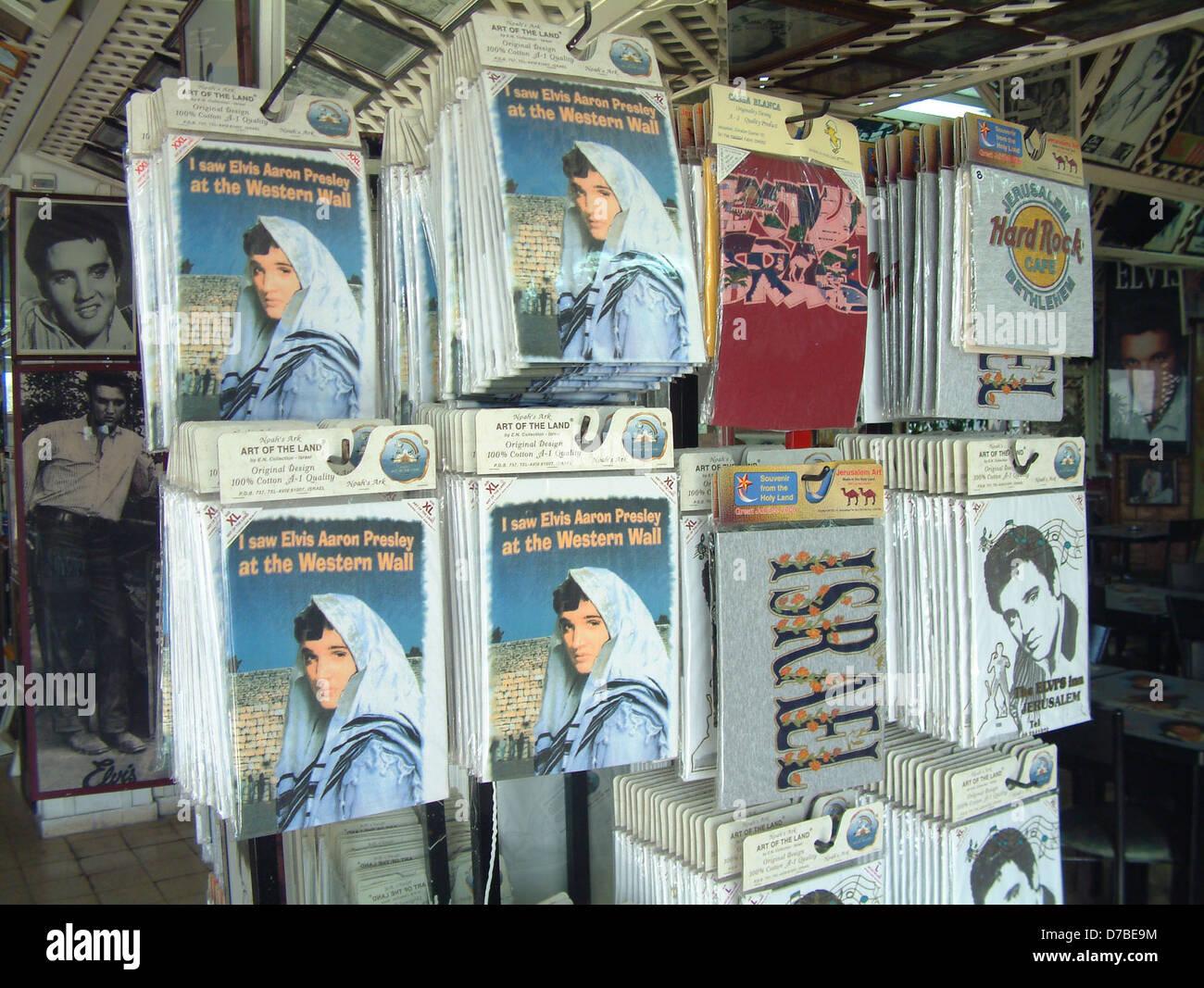 elvis presley image on jerusalem shirts - Stock Image
