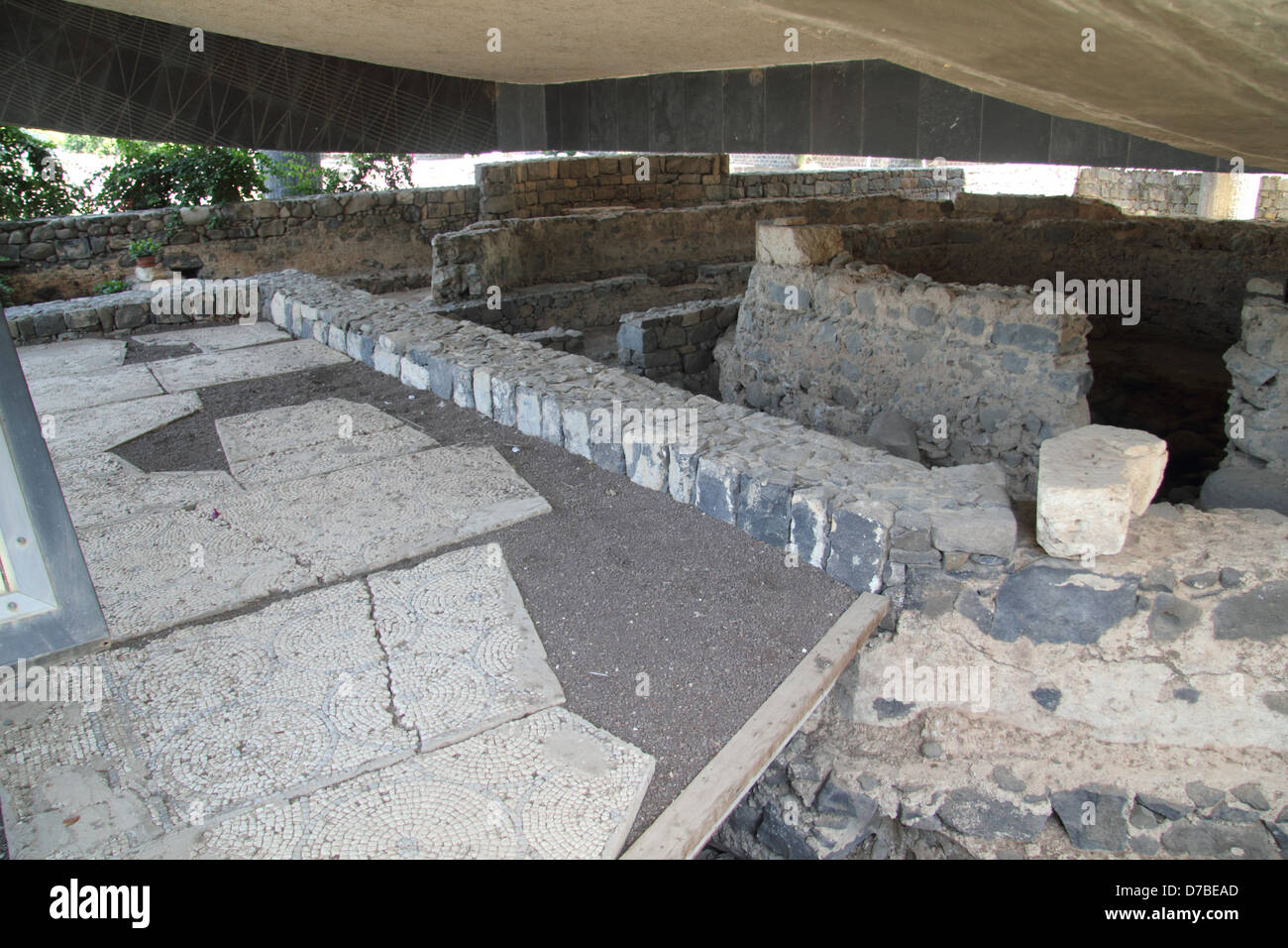 The octagonal House of St. Peter in Capernaum - Stock Image