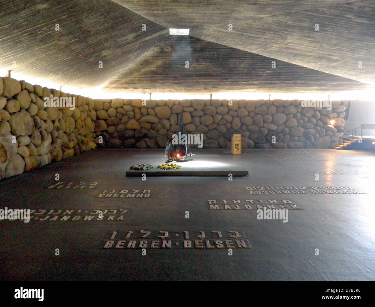 Eternal flame at the Hall of Remembrance in Yad Vashem Holocaust History Museum in Jerusalem - Stock Image